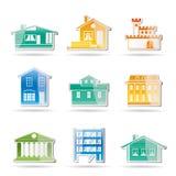 Verschillend soort huizen en gebouwen royalty-vrije illustratie
