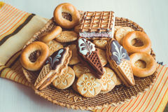Verschillend soort koekjes Stock Afbeeldingen
