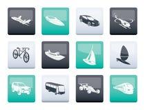 verschillend soort vervoer en reispictogrammen over kleurenachtergrond stock illustratie