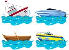 Verschillend soort vier boten Royalty-vrije Stock Foto's