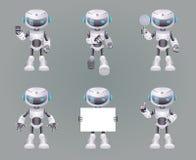 Verschillend stelt van de de technologiescience fiction van de Robotinnovatie de toekomstige leuke kleine 3d Pictogrammen geplaat Stock Afbeeldingen