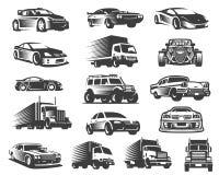 Verschillend type van de reeks van de auto'sillustratie, de inzameling van het autosymbool, het pak van het autopictogram stock foto's