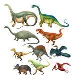 Verschillend type van dinosaurussen Royalty-vrije Stock Fotografie