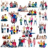Verschillend-verouderde grappige kinderen in groepen royalty-vrije stock foto's