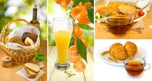 Verschillend voedsel voor ontbijt op aardclose-up Royalty-vrije Stock Afbeeldingen