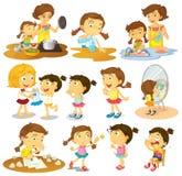 Verschillende acties van een jong meisje vector illustratie