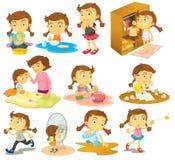 Verschillende activiteiten van een jong meisje vector illustratie