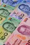 Verschillende bankbiljetten van Thailand Stock Foto