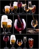 Verschillende beelden van alcohol Stock Afbeelding