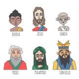 Verschillende bekentenis en godsdienst beroemde mensen royalty-vrije illustratie
