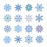 Verschillende blauwe geplaatste sneeuwvlokken Stock Foto's