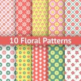 Verschillende bloemen naadloze patronen (het betegelen). Royalty-vrije Stock Afbeelding