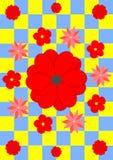 Verschillende bloemen op gele blauwe kwarten Royalty-vrije Stock Afbeeldingen