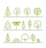 Verschillende bomeninzameling op wit Royalty-vrije Stock Foto