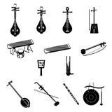 Verschillende Chinese muzikale instrumenten Stock Afbeeldingen