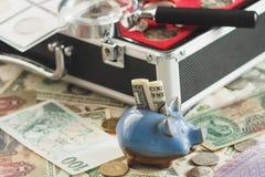 Verschillende collector` s muntstukken en bankbiljetten in de doos, met een vergrootglas en een spaarvarken stock afbeelding