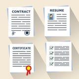 Verschillende conceptendocumenten voor zaken Contract de bedrijfsbooperationovereenkomst, hervat, certificaat Vlak Ontwerp Stock Foto's