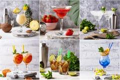 Verschillende de zomercocktails Voedselcollage royalty-vrije stock afbeeldingen