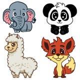 Verschillende die dieren op witte illustratiesmascotte charakter worden geïsoleerd royalty-vrije illustratie