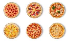 Verschillende die pizza zes voor menu wordt geplaatst Stock Afbeeldingen