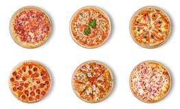 Verschillende die pizza zes voor menu wordt geplaatst Stock Foto