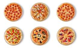 Verschillende die pizza zes voor menu wordt geplaatst Stock Foto's