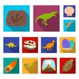 Verschillende dinosaurussen vlakke pictogrammen in vastgestelde inzameling voor ontwerp Voorhistorische dierlijke vector het Webi royalty-vrije illustratie