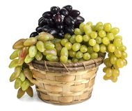 Verschillende druivenverscheidenheden in de mand Stock Foto