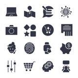 Verschillende eenvoudige pictogrammen voor apps, programma's, plaatsen en andere univ stock illustratie
