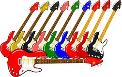 Verschillende elektrische gitaren in verschillende kleuren Royalty-vrije Stock Foto's