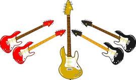 Verschillende elektrische gitaren in verschillende kleuren Royalty-vrije Stock Afbeeldingen