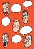 Verschillende emotiegezichten met de vectorreeks van toespraakballons Stock Afbeeldingen