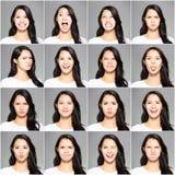 verschillende emoties in zelfde jonge vrouw royalty-vrije stock afbeelding