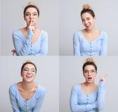 Verschillende emotiescollage Reeks mooie meisjes emotionele portretten stock afbeeldingen