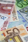 Verschillende euro bankbiljetten Stock Afbeeldingen