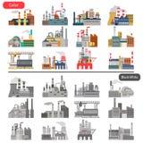 Verschillende fabrieken vlakke die illustratie in kleur en zwart-wit concept wordt geplaatst Stock Foto's