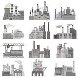 Verschillende fabrieken vlakke die illustratie in zwart-witte kleuren wordt geplaatst Stock Afbeelding