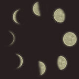 Verschillende fasen van de maan Stock Afbeelding
