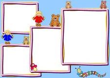 Verschillende frames met speelgoed Royalty-vrije Stock Fotografie
