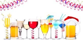 Verschillende geïsoleerde beelden van alcohol Royalty-vrije Stock Foto's