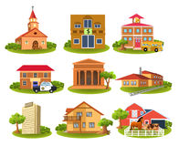 Verschillende gebouwen en plaatsen Stock Fotografie
