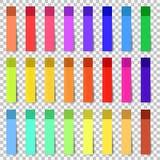 Verschillende gekleurde bladen van de documenten van notastickers inzameling Gekrulde Hoek stock foto's