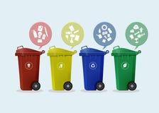 Verschillende Gekleurde die wheelie bakken met afvalpictogram worden geplaatst Stock Foto's