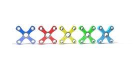 Verschillende Gekleurde hand vier friemelt 3d spinner, Stock Afbeelding