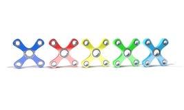 Verschillende Gekleurde hand vier friemelt spinner, 3d geef terug Royalty-vrije Stock Afbeelding