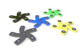 Verschillende Gekleurde hand vijf friemelt spinner, 3d geef terug Stock Foto's