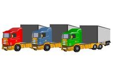 Verschillende gekleurde vector geplaatste vrachtwagens, geïsoleerd op wit vector illustratie