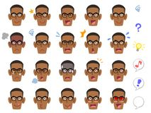 20 verschillende gelaatsuitdrukkingen van een zwarte mens die oogglazen dragen stock illustratie