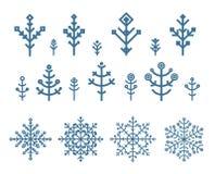 Verschillende geplaatste sneeuwvlokelementen Royalty-vrije Stock Afbeeldingen