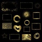 Verschillende gouden elementen, vectorontwerp Stock Afbeeldingen